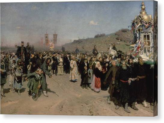 Orthodox Canvas Print - A Religious Procession In The Province Of Kursk, 1880-83 Oil On Canvas by Ilya Efimovich Repin