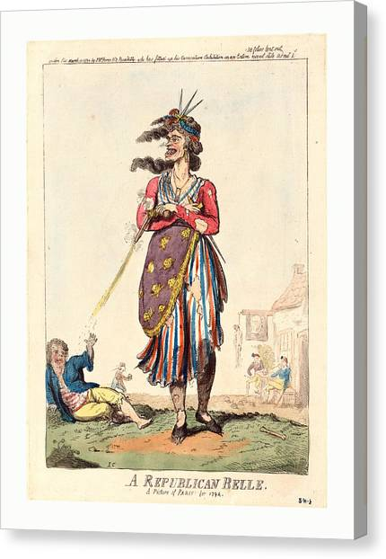 Bowling Shoes Canvas Print - A Republican Belle, A Picture Of Paris For 1794 by English School