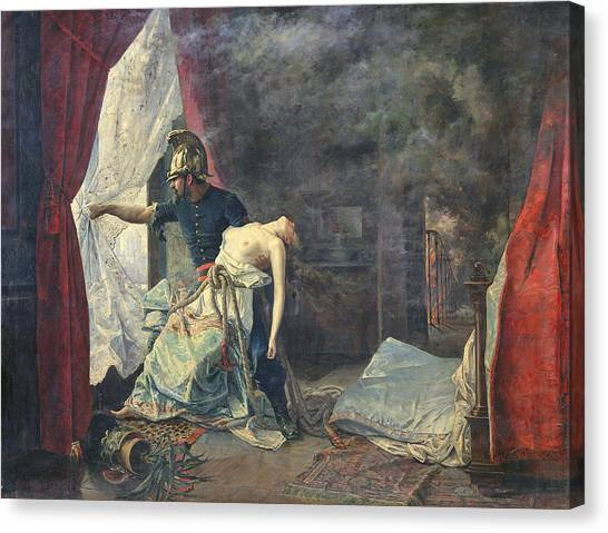 Unconscious Canvas Print - A Rescue In Paris, 1886 Oil On Canvas by Eugenio Alvarez Dumont