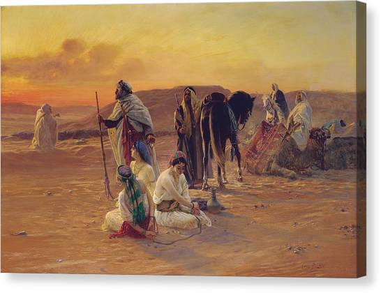 Arabian Desert Canvas Print - A Rest In The Desert by Otto Pilny