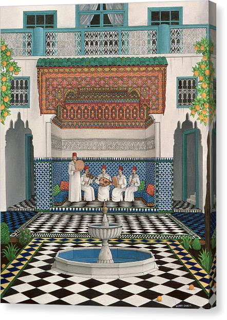 Tambourines Canvas Print - A Riad In Marrakech, 1992 Acrylic On Canvas by Larry Smart