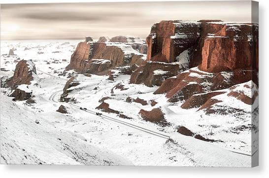 Mountain Cliffs Canvas Print - A Ride Through Yardang by Bj Yang