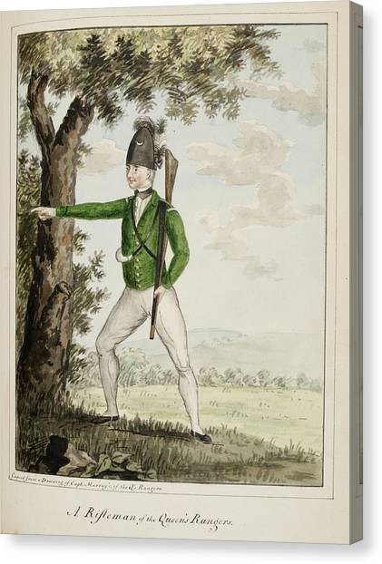 American Independance Canvas Print - A Rifleman Of The Queen's Rangers by British Library