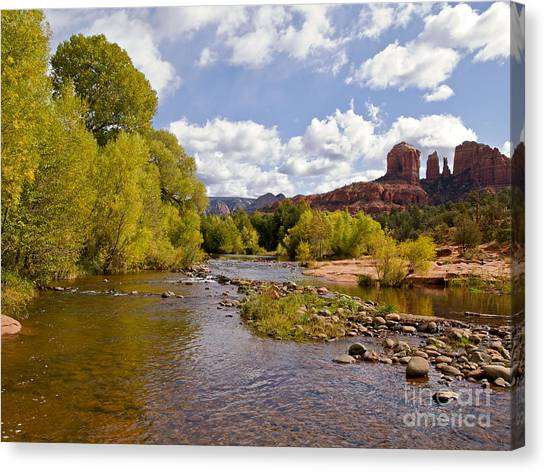 Cathedral Rock Canvas Print - A River Runs Through It by Alex Cassels