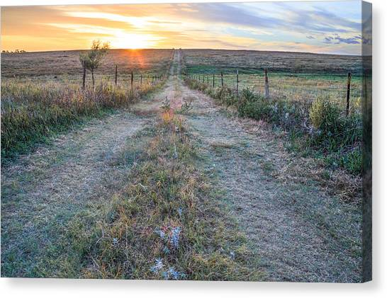 Prairie Sunsets Canvas Print - A Road Less Traveled by Jill Van Doren Rolo