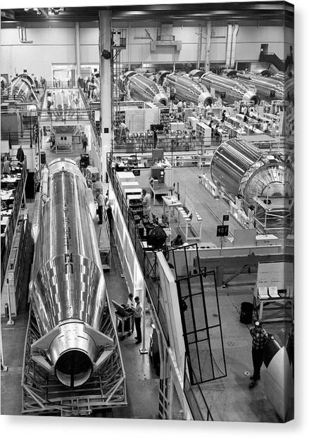 Cold War Canvas Print - A Rocket Manufacturing Facility. by Underwood Archives