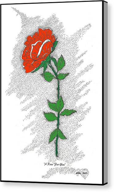 Pen And Ink Drawing Canvas Print - A Rose For You by Glenn McCarthy Art and Photography