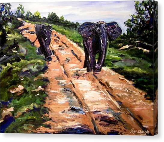 Canvas Print featuring the painting A Rough Safari by Ray Khalife