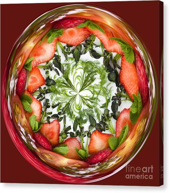 Watercress Canvas Print - A Round Of Fresh Fruit Salad by Anne Gilbert
