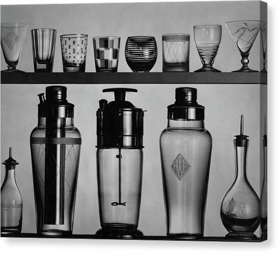 A Row Of Glasses On A Shelf Canvas Print