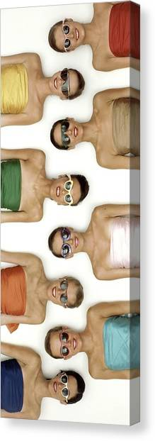 A Row Of Models In Strapless Tops And Sunglasses Canvas Print by Richard Rutledge