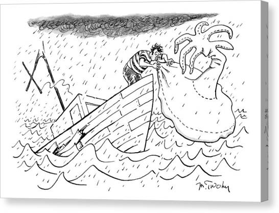 Inflatable Canvas Print - A Sailor Blows Up An Inflatable Island by Mike Twohy