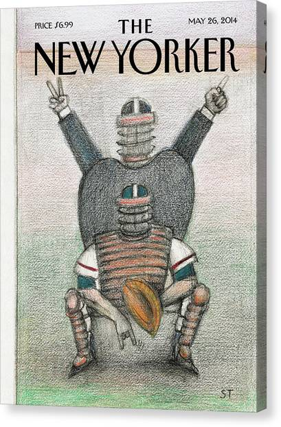 Catchers Canvas Print - A Scene From A Baseball Game by Saul Steinberg