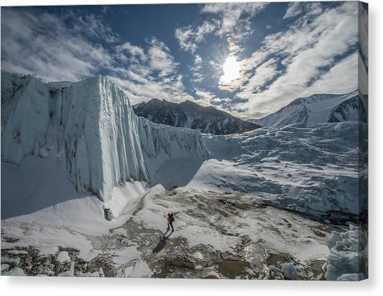 Canada Glacier Canvas Print - A Scientist Does Research In A Melt by Alasdair Turner