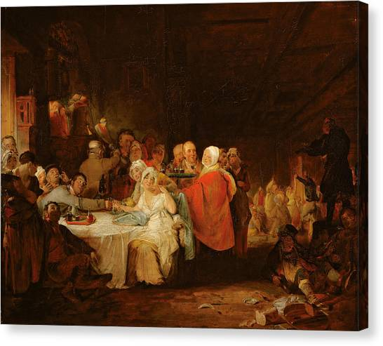 Drunk Canvas Print - A Scotch Wedding, 1811 Panel by William Home Lizars