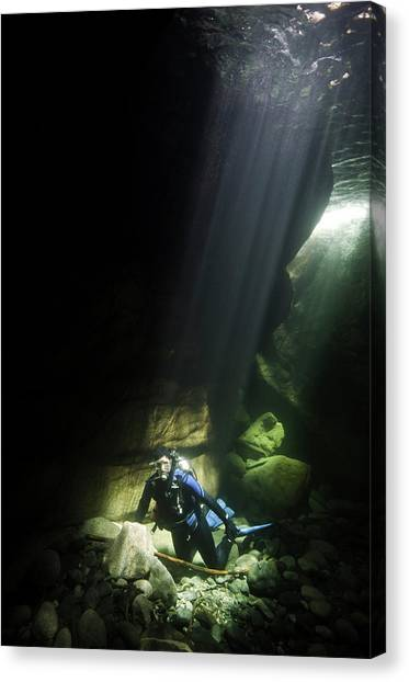 Underwater Caves Canvas Print - A Scuba Diver In In Heber River by Brent Barnes