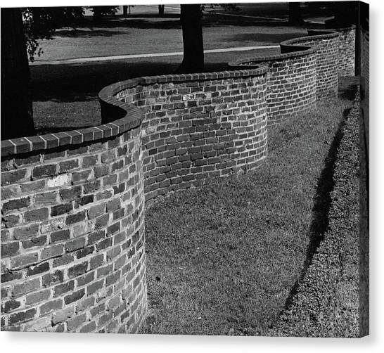 University Of Virginia Canvas Print - A Serpentine Brick Wall by William and Neill Dingledine