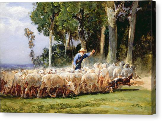Dog Running Canvas Print - A Shepherd With A Flock Of Sheep by Charles Emile Jacques