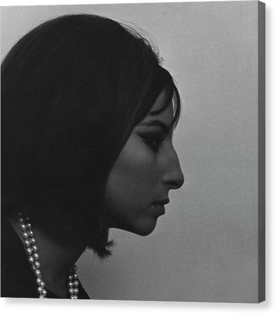 A Side View Of Barbra Streisand Canvas Print by Cecil Beaton