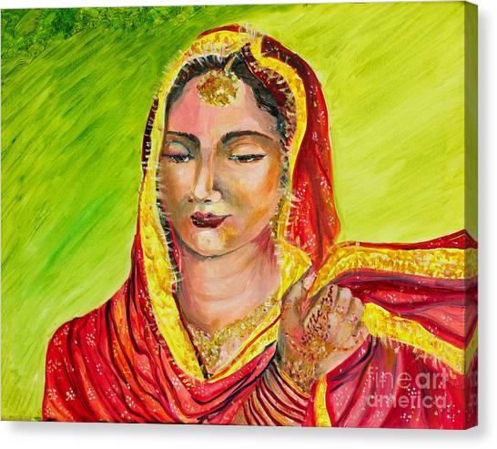 Sikh Art Canvas Print - A Sikh Bride by Sarabjit Singh
