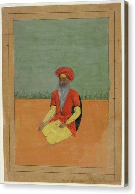 Sikh Canvas Print - A Sikh Kneeling by British Library