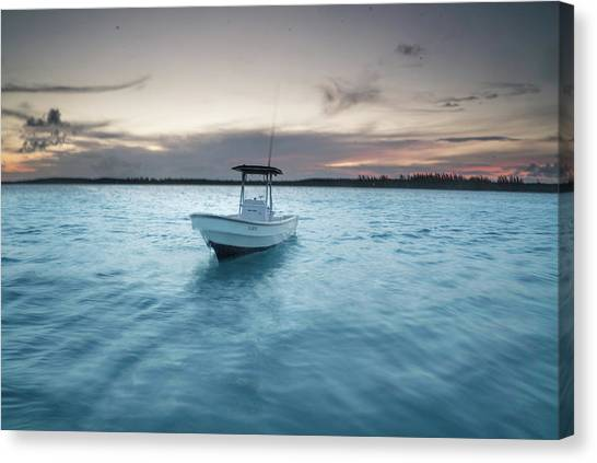 Canvas Print - A Skiff Anchored Off The Coast Of Cat by Andy Mann
