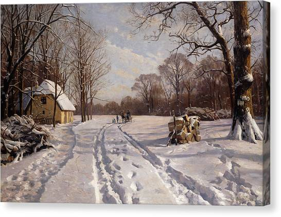 Danish Canvas Print - A Sleigh Ride Through A Winter Landscape by Peder Monsted