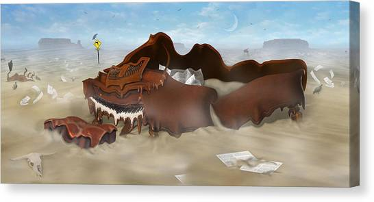 Buzzards Canvas Print - A Slow Death In Piano Valley - Panoramic by Mike McGlothlen