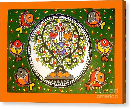 A Small Island-madhubani Painting Canvas Print