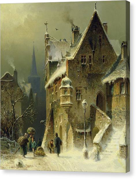Xmas Canvas Print - A Small Town In The Rhine by August Schlieker