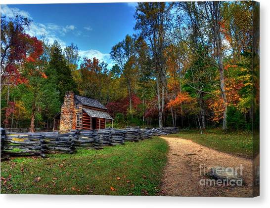 Canvas Print featuring the photograph A Smoky Mountain Cabin by Mel Steinhauer