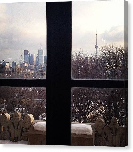 Toronto Skyline Canvas Print - A Snowy Window View Of The Toronto by Blogatrixx