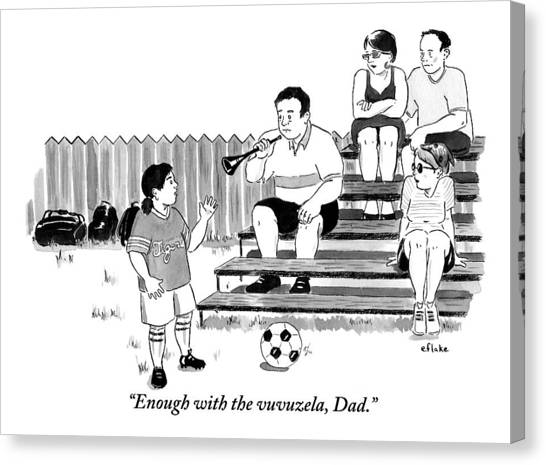 World Cup Canvas Print - A Soccer-playing Little Girl Chastises Her Father by Emily Flake