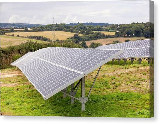 Clean Energy Canvas Print - A Solar Park At Wheal Jane by Ashley Cooper