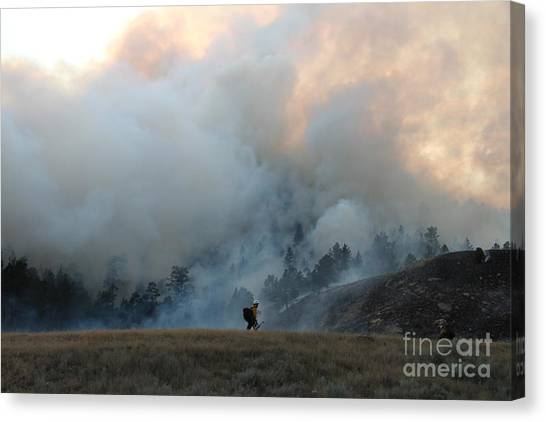 A Solitary Firefighter On The White Draw Fire Canvas Print