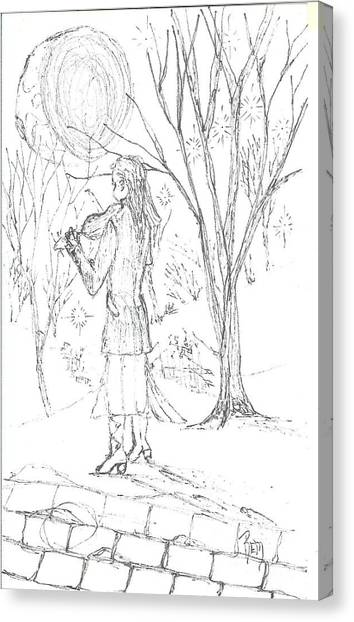 A Song For The Night - Sketch Canvas Print by Robert Meszaros