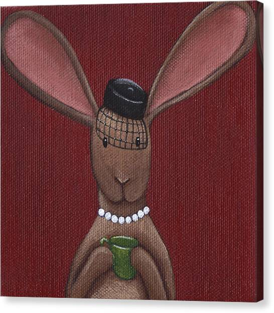 Tea Time Canvas Print - A Sophisticated Bunny by Christy Beckwith