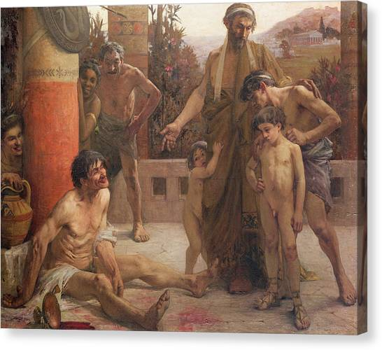 Drunk Canvas Print - A Spartan Points Out A Drunken Slave To His Sons by Fernand Sabbate