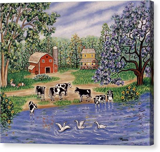 Folk Art Canvas Print - A Spring Afternoon by Linda Mears