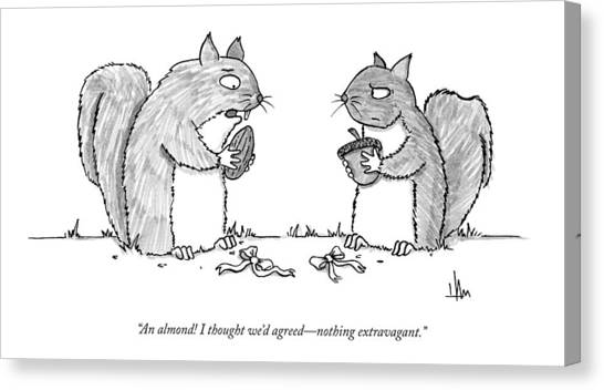 A Squirrel Couple Exchange Gifts Of An Acorn Canvas Print