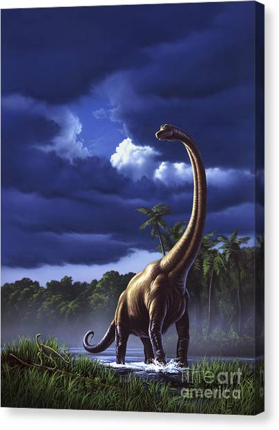 Brachiosaurus Canvas Print - A Startled Brachiosaurus Splashes by Jerry LoFaro