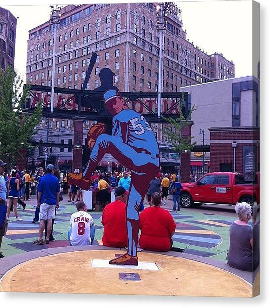 Bases Canvas Print - A Statue In The Plaza Of Autozone Park by James Trammell