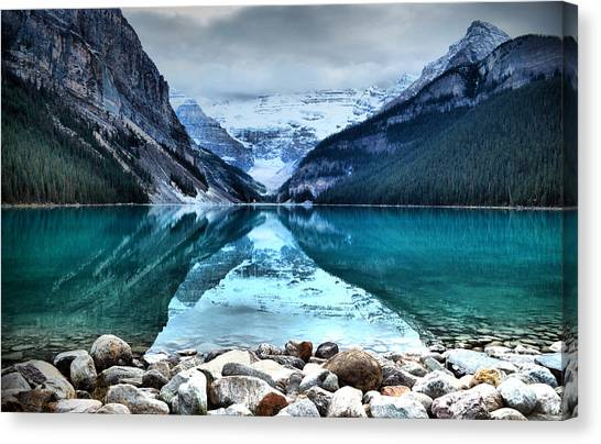 A Still Day At Lake Louise Canvas Print