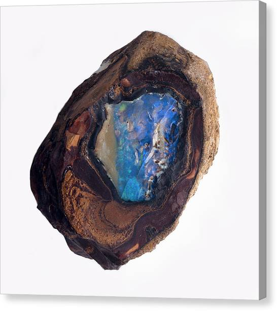 Gemstones Canvas Print - A Stone With Blue Opal In The Centre by Dorling Kindersley/uig