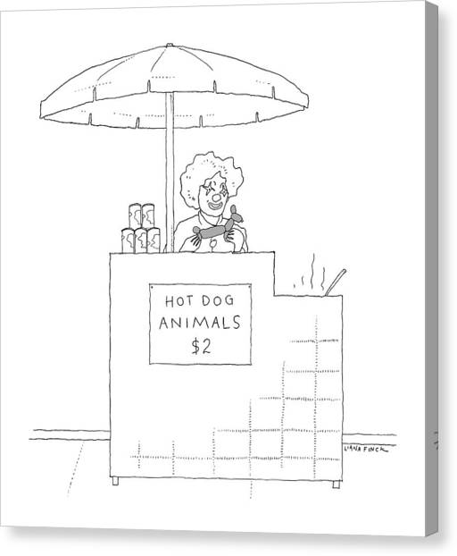 Hot Dogs Canvas Print - A Street Vendor Sells Hot Dog Animals by Liana Finck