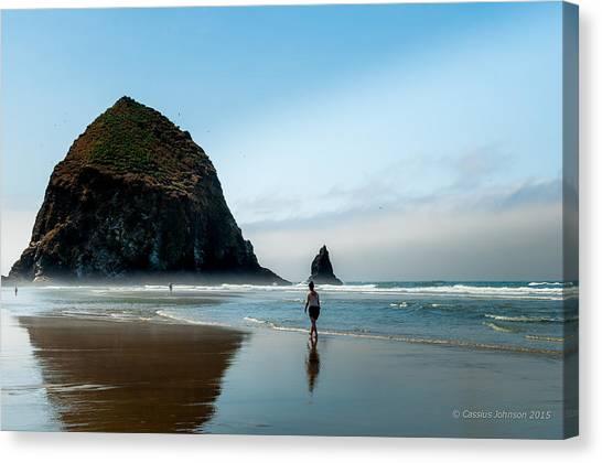 A Stroll At Cannon Beach Oregon Canvas Print