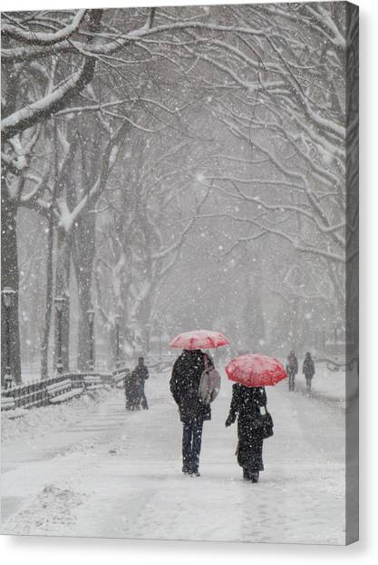 A Stroll In The Snow Canvas Print