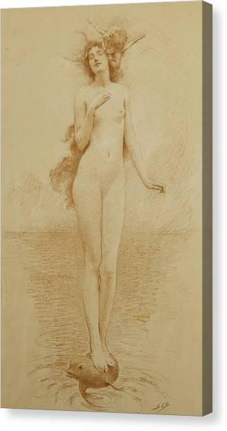 Long Hair Canvas Print - A Study For The Birth Of Love by Solomon Joseph Solomon