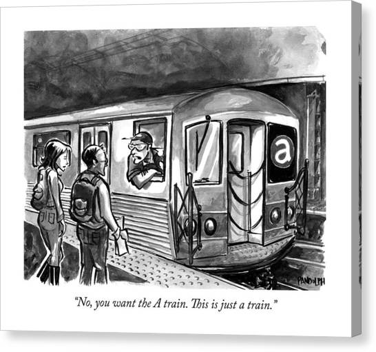 Train Canvas Print - A Subway Conductor Drives A Train Marked by Corey Pandolph