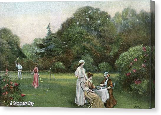 Garden Scene Canvas Print - A Summer Afternoon In An  Edwardian by Mary Evans Picture Library